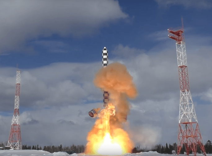 The Sarmat ICBM's March 2018 ejection test at Plesetsk Cosmodrome.
