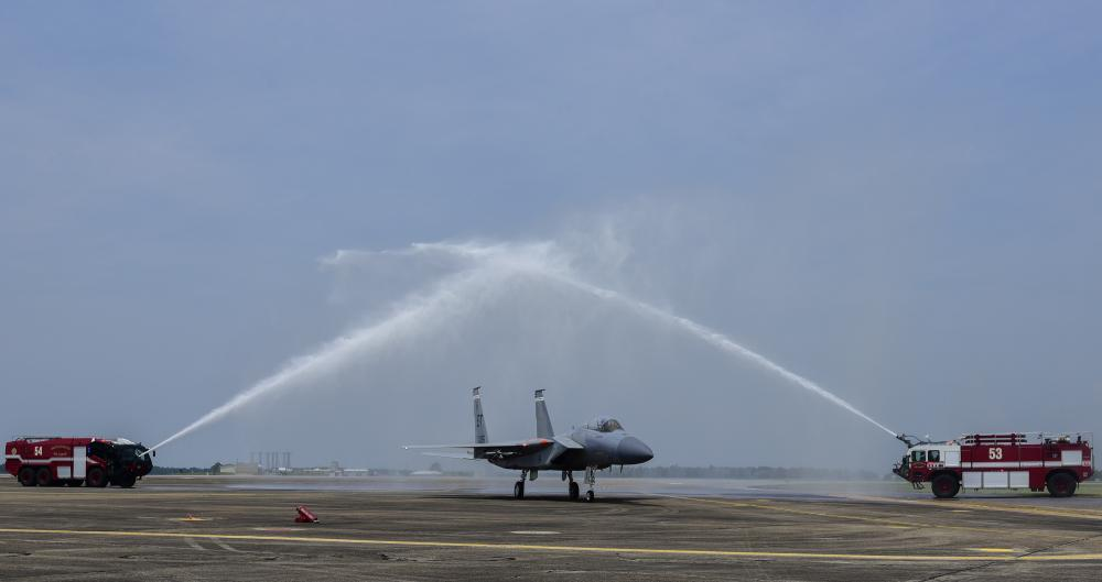US Air Force 40th Flight Test Squadron Honors Fallen Airman on F-15's Final Flight