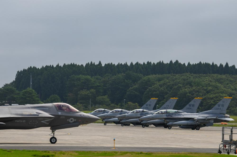 """An F-35B Lightning II, assigned to the """"Green Knights"""" of Marine Fighter Attack Squadron VMFA-121, prepares to launch at Misawa Air Base."""