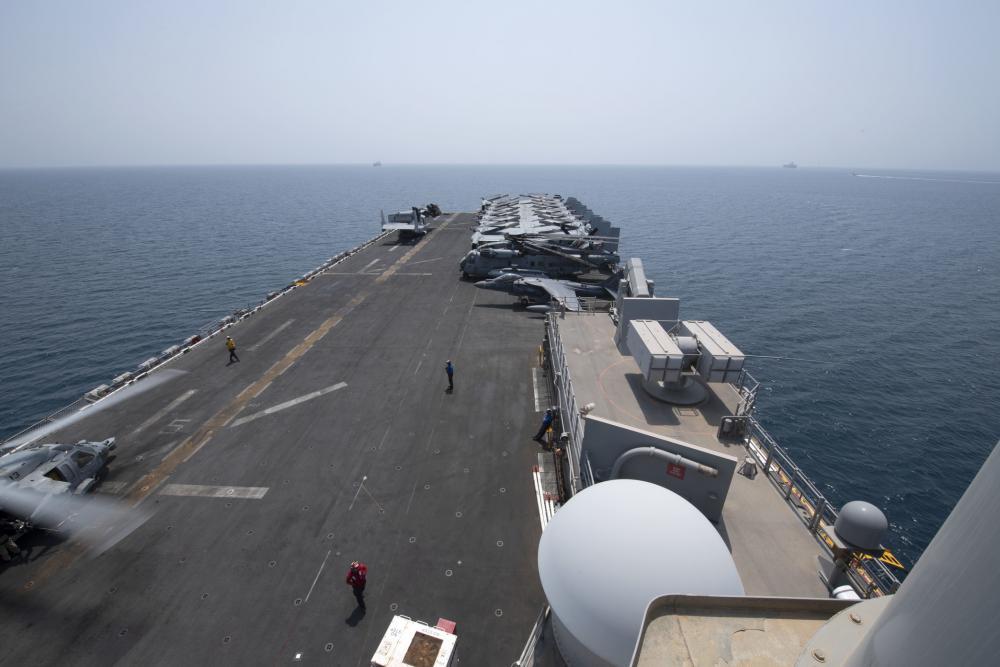US Navy Amphibious Assault Ship USS Iwo Jima (LHD 7) Transits the Strait of Hormuz