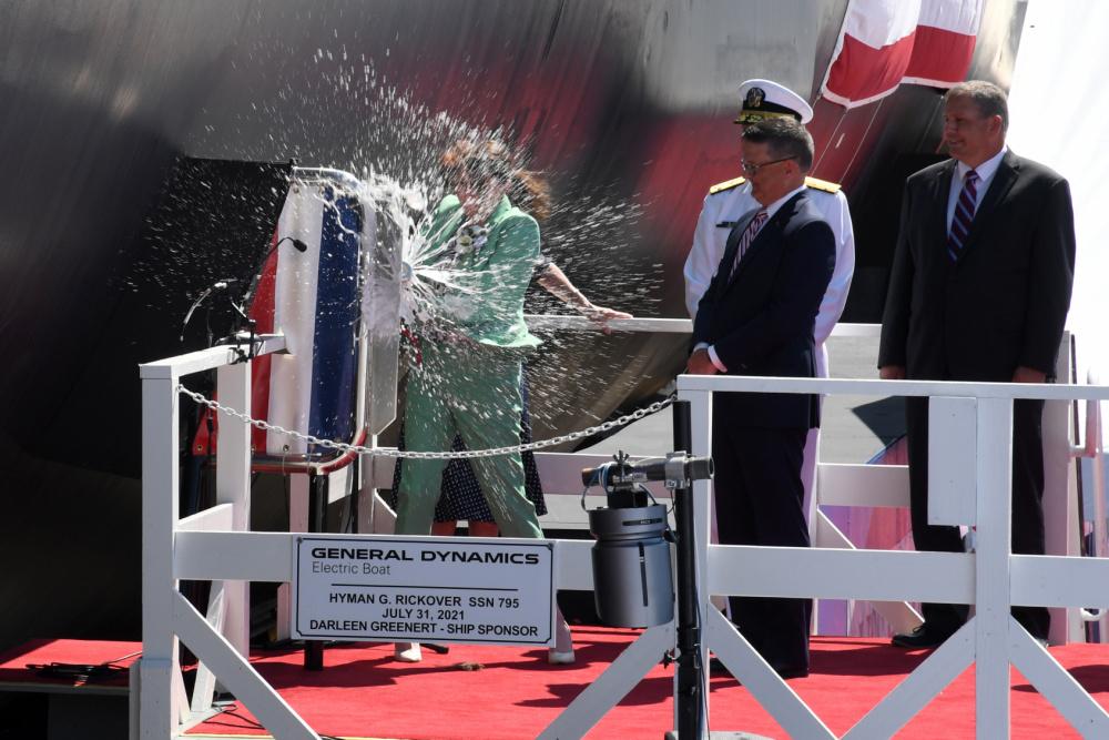 US Navy Christens Virginia-class Attack Submarine USS Hyman G. Rickover (SSN 795)