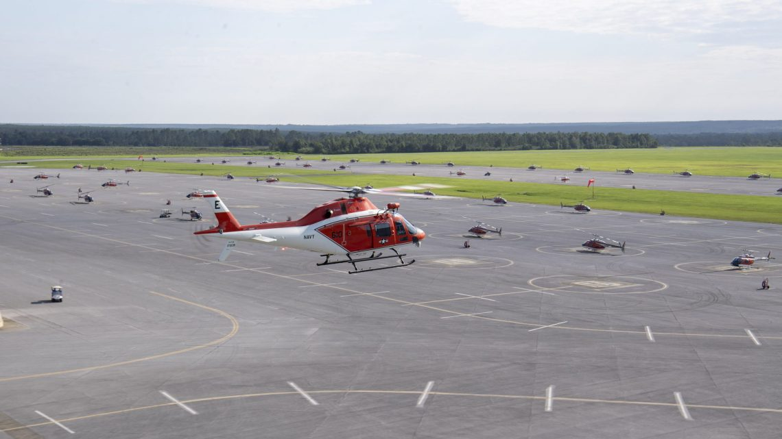 The Navy's first TH-73A Thrasher arrives at Naval Air Station Whiting Field in Milton Aug. 6, 2021. The TH-73A will be assigned to Training Air Wing 5 on base and will replace the TH-57B/C Sea Ranger as the undergraduate rotary and tilt-rotor helicopter trainer for the Navy, Marine Corps, and Coast Guard.
