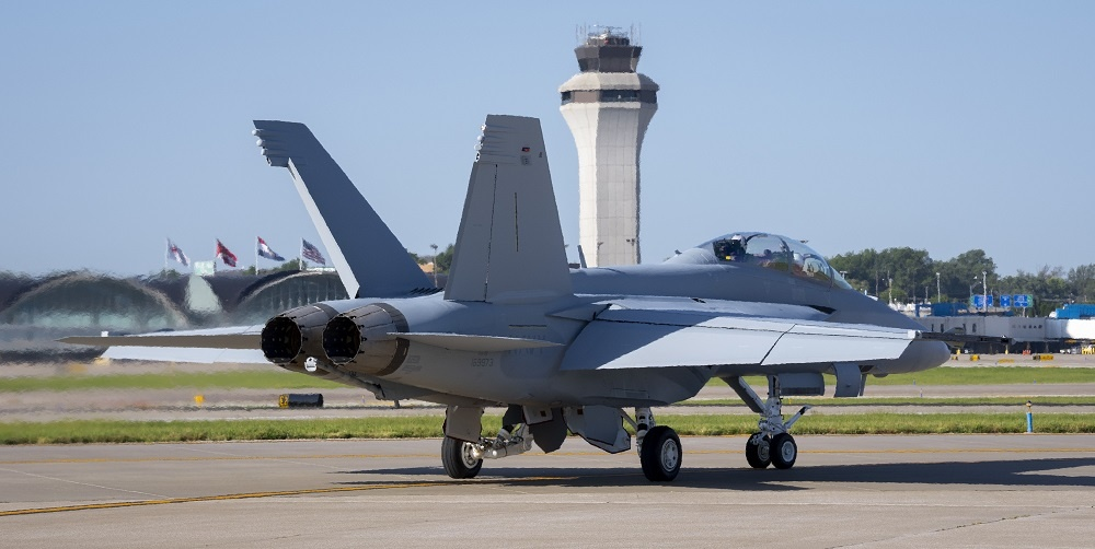The U.S. Navy's first Block III F/A-18 Super Hornet taxis towards the runway ahead of its delivery flight to Test and Evaluation Squadron (VX) 23 at Naval Air Station Patuxent River, Maryland.