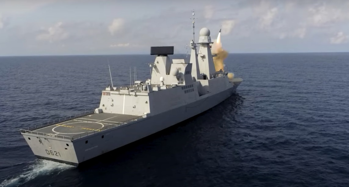French Navy Frigate Chevalier Paul Fires Aster 30 Surface-to-air Missile Near Levant Island
