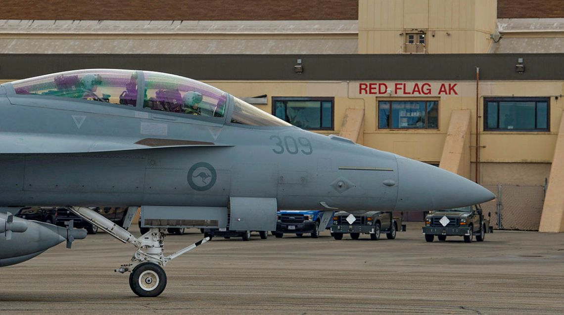 A Royal Australian Air Force EA-18G Growler aircraft taxis for a familiarisation flight, at Eielson Air Force Base in Alaska, United States.