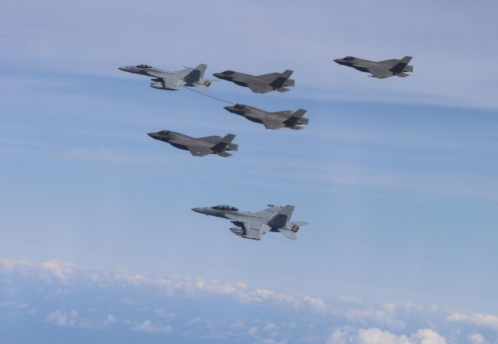 US Navy Carl Vinson Carrier Strike Group and UK Carrier Strike Groups Conduct Fighter Joint Interoperability Flights
