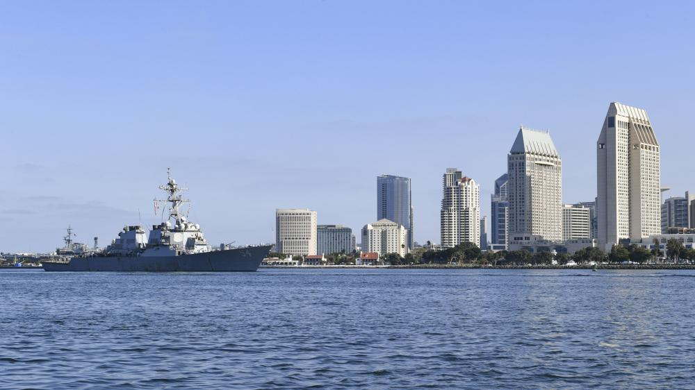US Navy USS Curtis Wilbur Arrives in Homeport San Diego, California