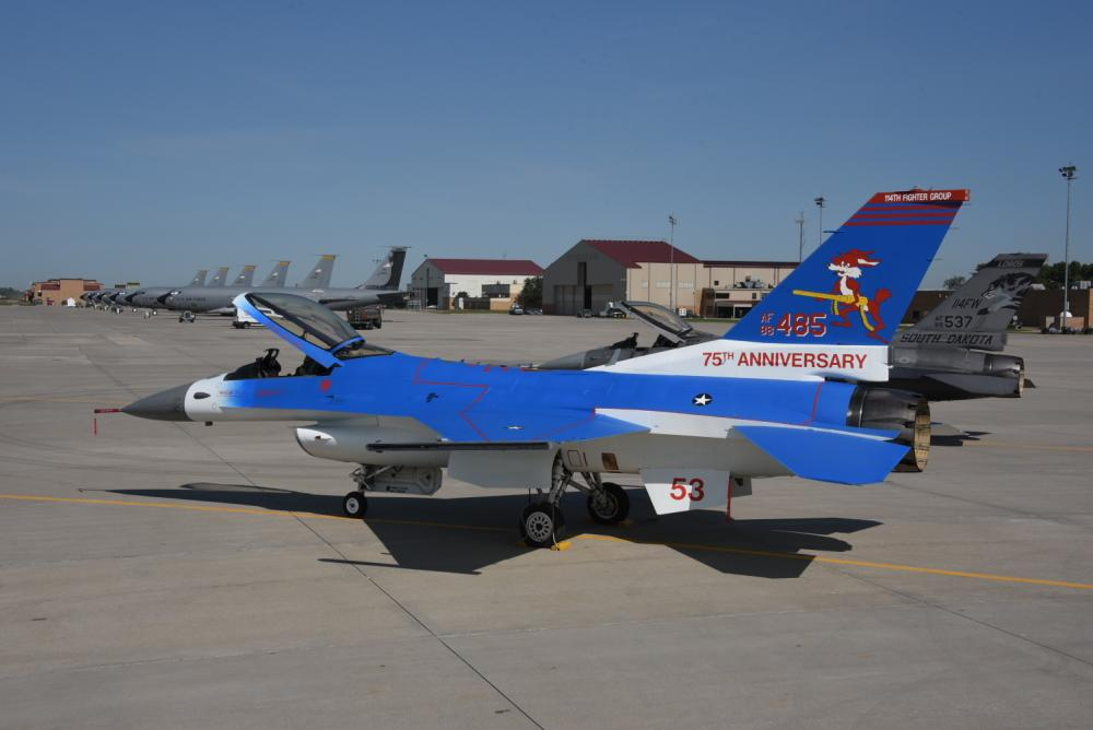 World War II Ace Joe Foss Celebrated with Blue 75th Anniversary F-16 Fighter Aircraft