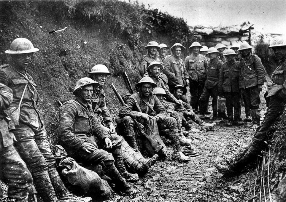 Soldiers Waiting in the Trenches of World War I