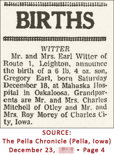Greg Witter - birth