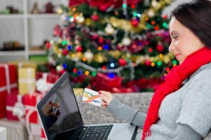 christmas, holidays, technology and shopping concept