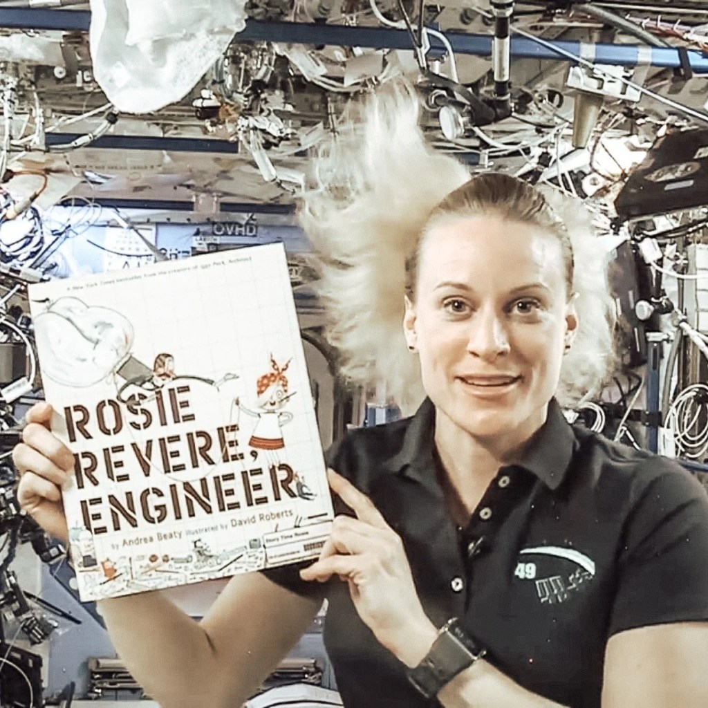 Astronaut Kate Rubins with Rosie Revere Book