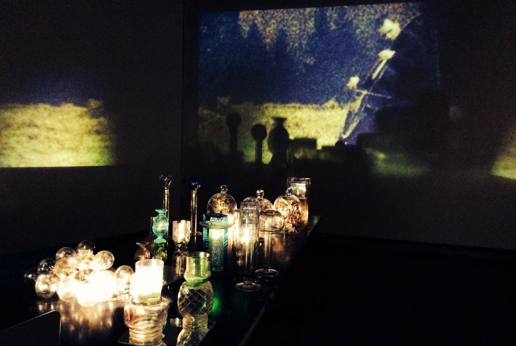 Projection through prismas, mirrors and everyday glass objects http://miljaviita.org/installations/still-life-with-mary/