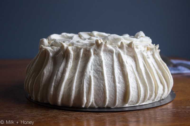 pavlova, filled with whipped cream