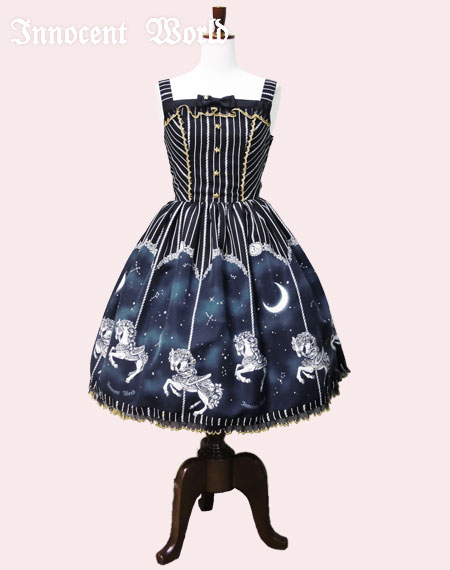 Innocent World Midnight Merry-Go-Round Lame Lace JSK Navy x Gold