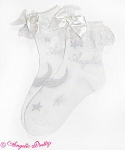Angelic Pretty Misty Sky Crew Length Socks White