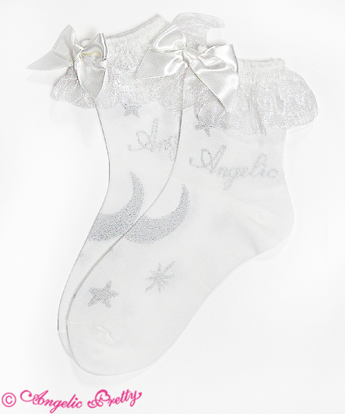 Angelic Pretty Misty Sky Crew Length Socks White