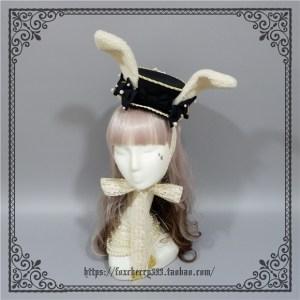 Foxcherry Rabbit Ears Wild Flat Top Hat Black