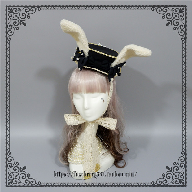 Foxcherry Rabbit Ears Wild Flat Top Hat Black