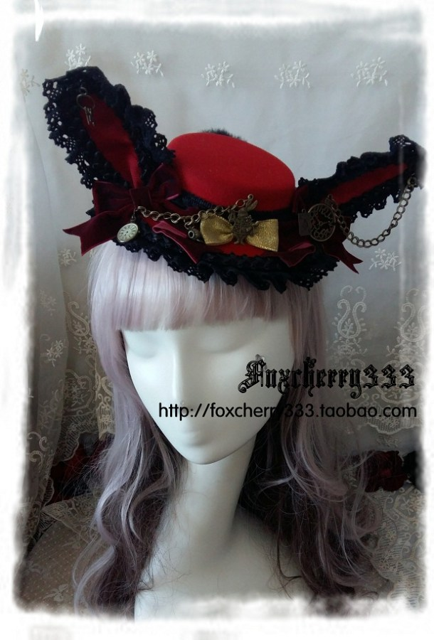 Foxcherry Wild Clock Poker Alice Rabbit Ears Flat Top Hat