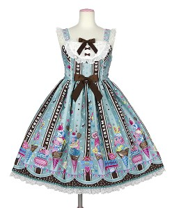 Angelic Pretty Ice Cream Parlor JSK Mint x Brown