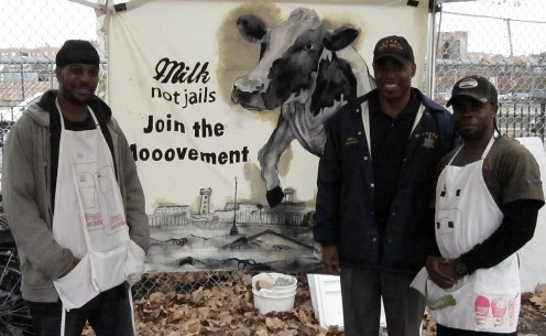 Tychist and Bishop with Borough President Eric Adams preaching the tenets of Milk Not Jails at the farmers market.
