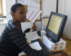 Saquana keeping everything organized at the office.