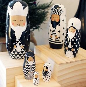 Black and White Nativity Set