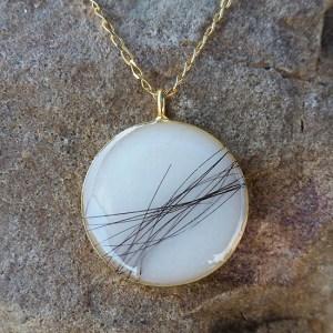 Round, Gold Pendant w Baby's Hair - Milk Vine Jewelry