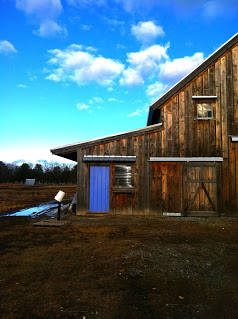 Sky blue barn door