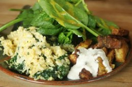 Egg and spinach fried rice, kohlrabi fries with horseradish mayo, and spinach salad
