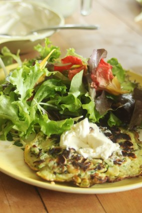 lucretia's zucchini and corn fritters for lunch