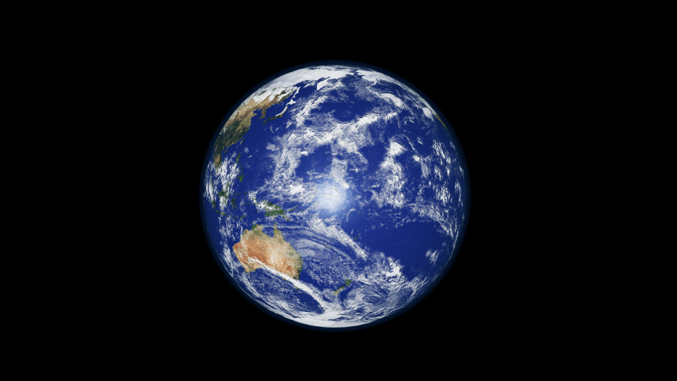 The Earth, 6371km in radius