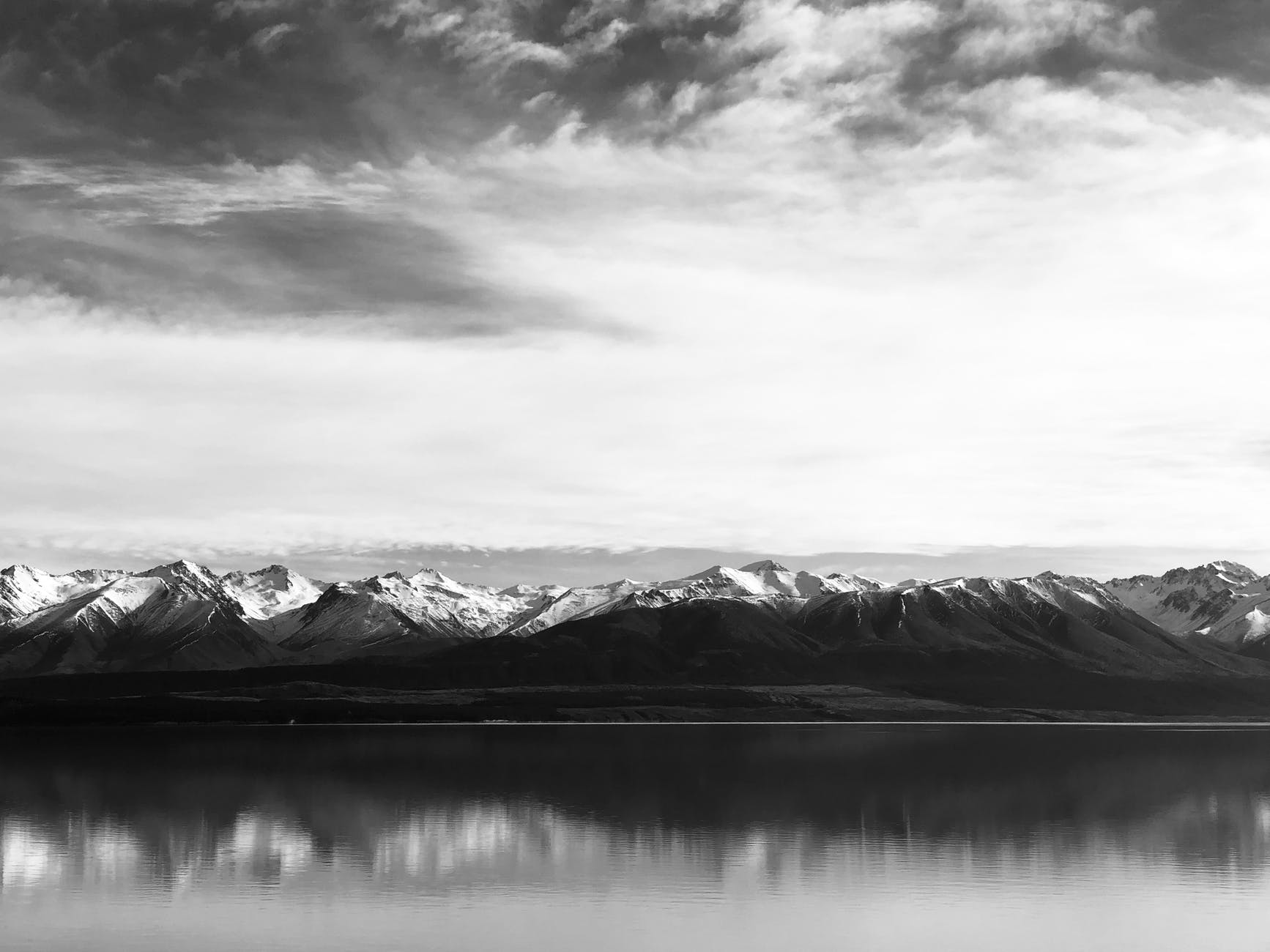 monochrome photography of mountains