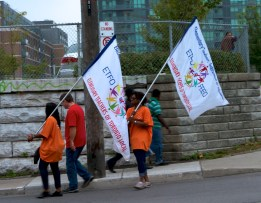 Elementary Teachers Federation of Ontario (A few ETFO marchers) on Dufferin Ave. (Toronto Labour Day Parade, September 2, 2013)