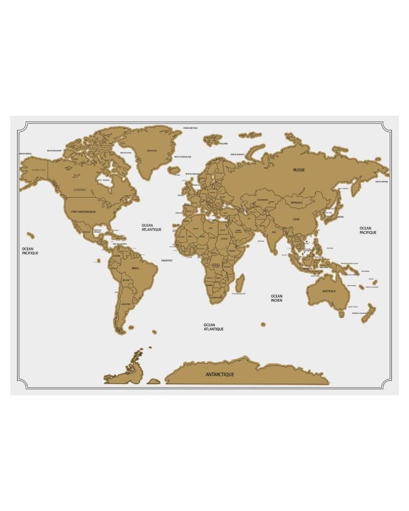 Carte A Gratter Du Monde : carte, gratter, monde, CARTE, GRATTER, MONDE, 82X59