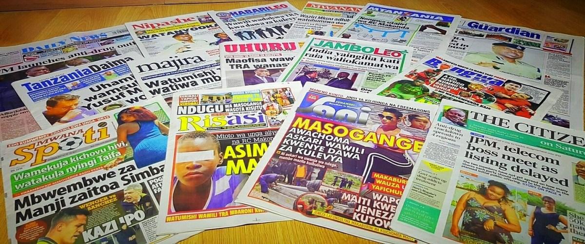 Magazeti ya Tanzania February 18, 2017 kuanzia, Udaku, Hardnews na michezo
