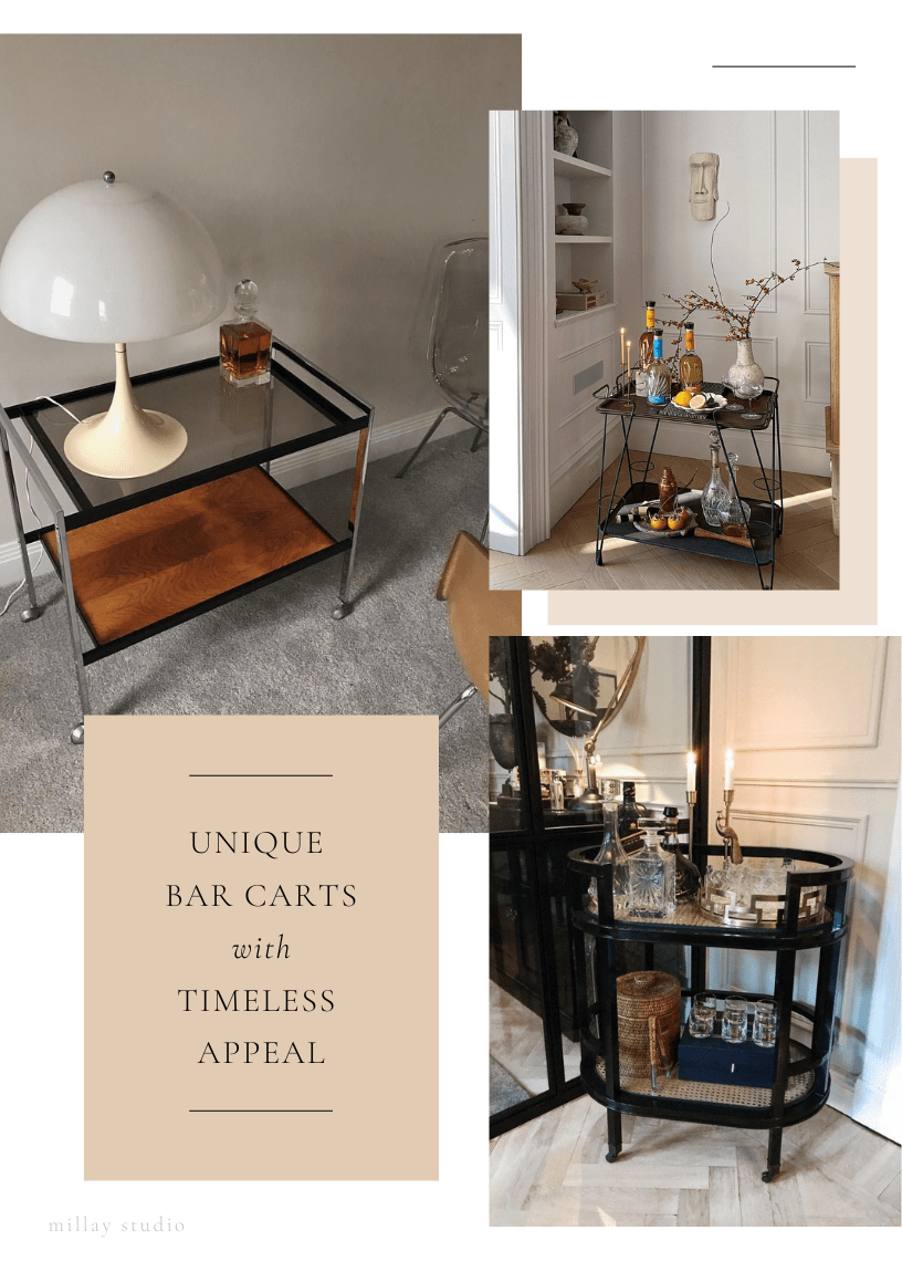 Unique Bar Carts with Timeless Appeal image collage