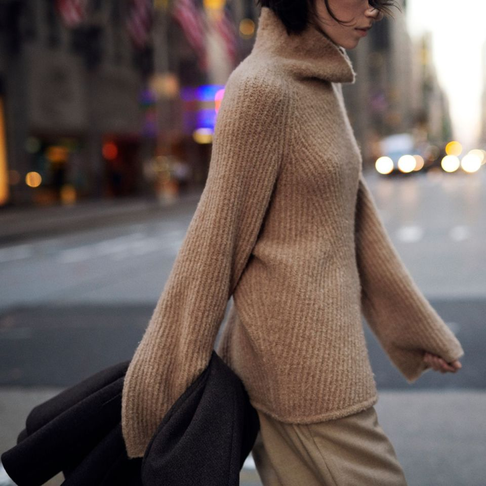 Moving Rib Turtleneck Sweater in Camel Boucle