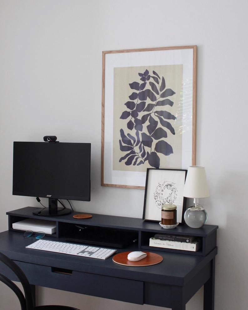 minimal botanical art over desk - millay studio