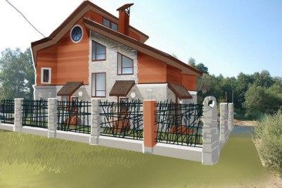 Проект загородного дома. Вариант ограды