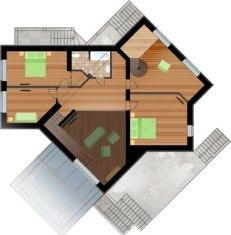 Проект загородного дома. План 2-го этажа