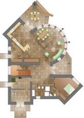 Уютный загородный дом. План 1-го этажа
