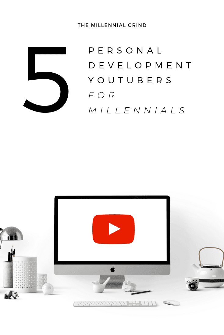 top 5 personal development youtubers with computer monitor and youtube screen