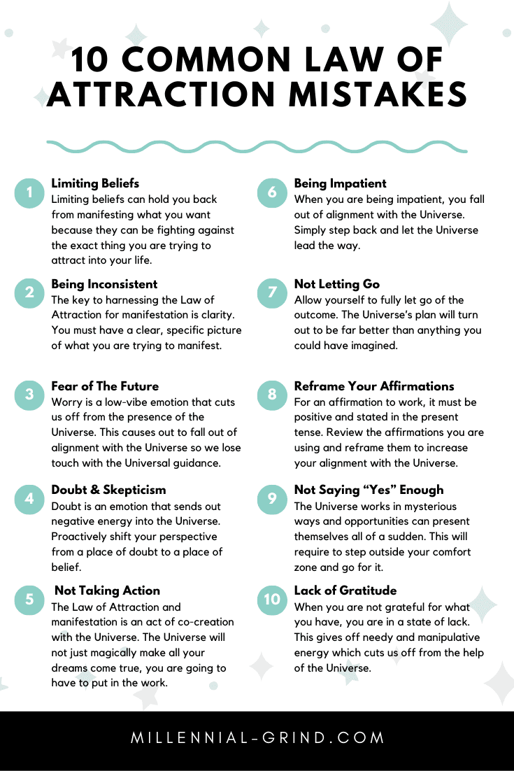 10 Reasons Why The Law of Attraction Isn't Working For You Infographic by The Millennial Grind