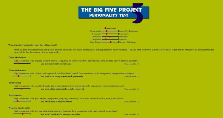 Big Five Personality Test - Out Of Service