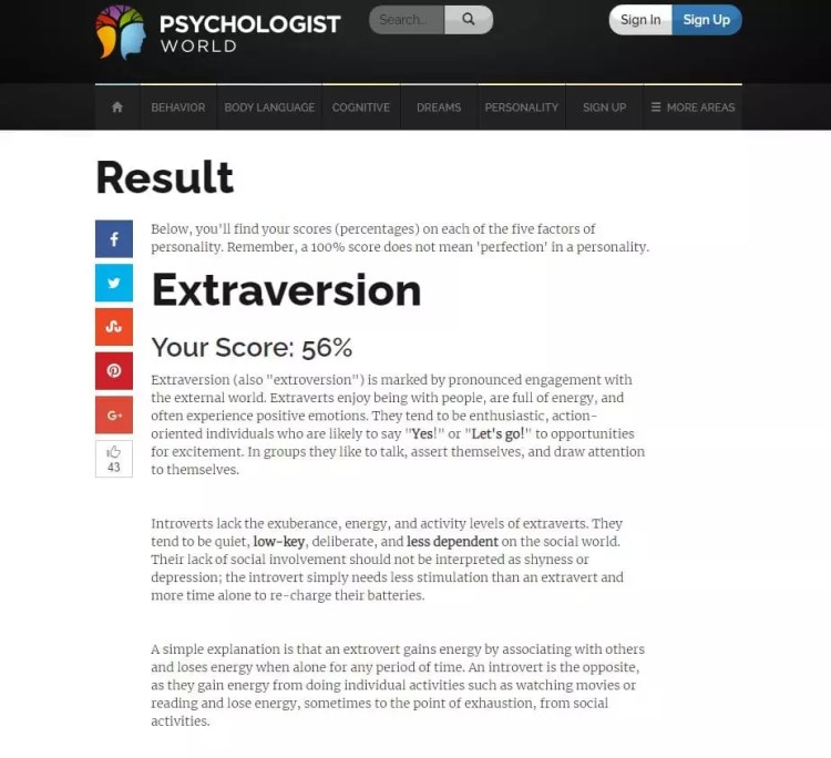 Big Five Personality Test - Psychologist World