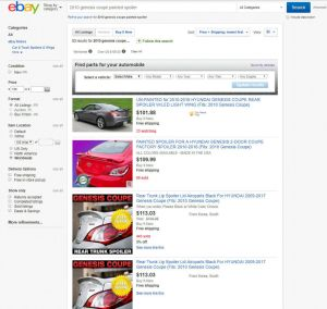 """Ebay is probably one of the best places to start the search for a Genesis Coupe rear spoiler. Just make sure to include """"Worldwide"""" items."""