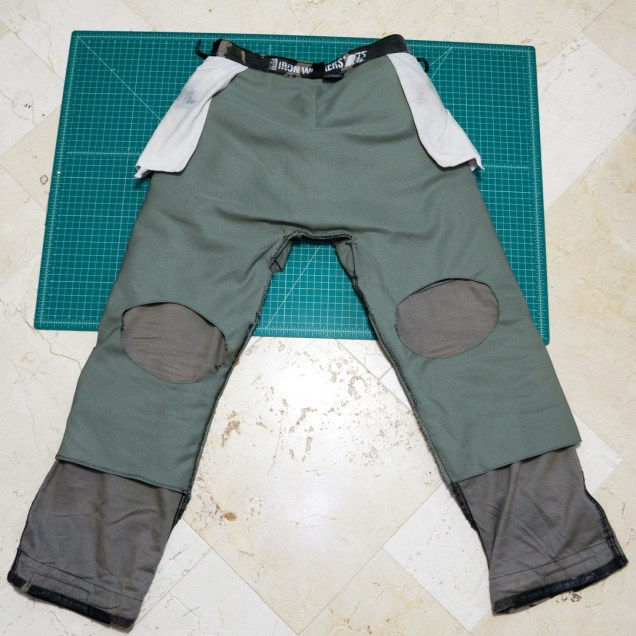 Custom DIY motorcycle armored pants reinforcement layer