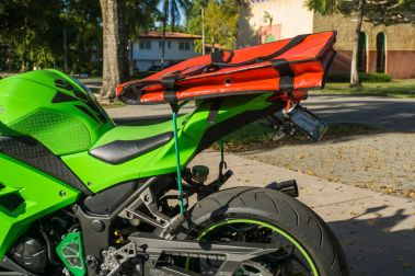 Insulated Pizza Bag for motorcycles on a 2015 Kawasaki Ninja 300 sport bike.
